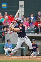 Salem Red Sox infielder Sam Travis (34) at bat during a game against the Myrtle Beach Pelicans at Ticketreturn.com Field at Pelicans Ballpark on May 5, 2015 in Myrtle Beach, South Carolina.  Myrtle Beach defeated Salem  5-2. (Robert Gurganus/Four Seam Images)