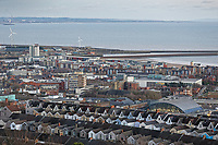 General view of houses in Mount Pleasant, the city centre, and the SA development in the docks area of Swansea, Wales, UK. Wednesday 30 January 2019