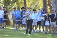 Danny Willett (ENG) in action on the 18th during Round 2 of the ISPS Handa World Super 6 Perth at Lake Karrinyup Country Club on the Friday 9th February 2018.<br /> Picture:  Thos Caffrey / www.golffile.ie<br /> <br /> All photo usage must carry mandatory copyright credit (&copy; Golffile | Thos Caffrey)