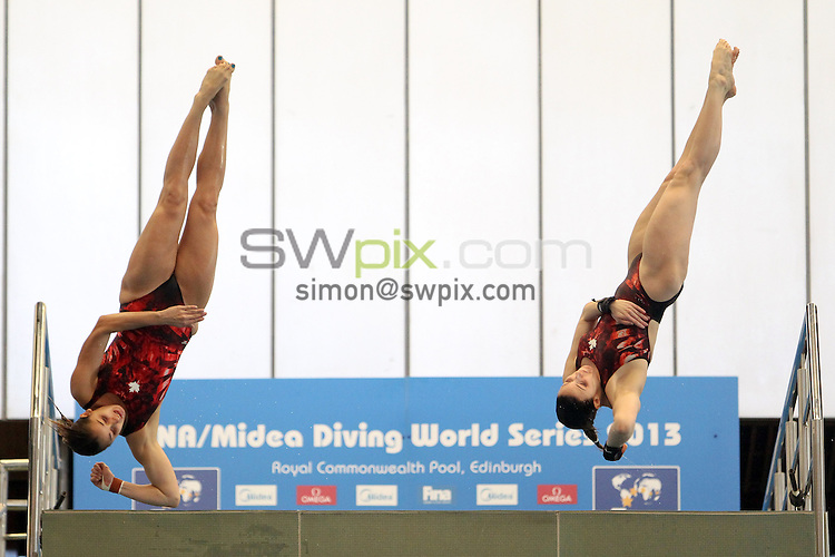 PICTURE BY ALEX WHITEHEAD/SWPIX.COM - Diving - FINA/Midea Diving World Series 2013 - Royal Commonwealth Pool, Edinburgh, Scotland - 19/04/13 - Canada's Carol-Ann Ware and Pamela Ware compete in the Women's 10m synchro platform final.