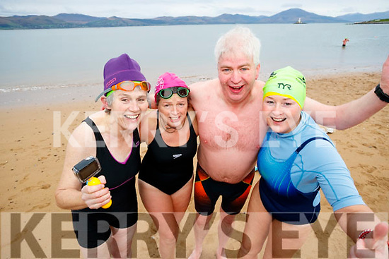 Margaret Gilbert, Hazel Wharton, Dermot Dillane and Trish Murray at the Polar Plunge for the Special Olympics at Fenit on Saturday morning.