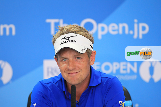 Luke Donald (GBR) speaking to the media at The 142th Open Championship Muirfield, Gullane, East Lothian, Scotland 17/7/2013<br /> Picture Fran Caffrey www.golffile.ie:
