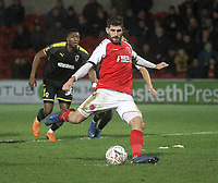 Fleetwood Town's Ched Evans scores his sides second goal  from a penalty<br /> <br /> Photographer Mick Walker/CameraSport<br /> <br /> Emirates FA Cup Third Round - Fleetwood Town v AFC Wimbledon - Saturday 5th January 2019 - Highbury Stadium - Fleetwood<br />  <br /> World Copyright © 2019 CameraSport. All rights reserved. 43 Linden Ave. Countesthorpe. Leicester. England. LE8 5PG - Tel: +44 (0) 116 277 4147 - admin@camerasport.com - www.camerasport.com
