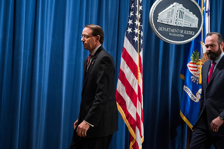 UNITED STATES - JULY 13: Deputy Attorney General Rod Rosenstein concludes a news conference at the Department of Justice announcing the indictment of twelve Russian nationals who are alleged to have interfered in the 2016 election on July 13, 2018. DOJ deputy attorney Edward O' Callaghan also appears. (Photo By Tom Williams/CQ Roll Call)