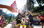 Thomas Boudat (FRA) Direct Energie climbs the Portillon during Stage 15 of the 2018 Tour de France running 218km from Carcassonne to Bagneres-de-Luchon, France. 24th July 2018. <br /> Picture: ASO/Alex Broadway | Cyclefile<br /> All photos usage must carry mandatory copyright credit (© Cyclefile | ASO/Alex Broadway)