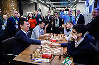 31st December 2019, Moscow, Russia; Wang Hao L of China and Alireza Firouzja participating under the FIDE flag shake hands after the Blitz Open final at 2019 King Salman World Rapid & Blitz Chess Championship in Moscow, Russia