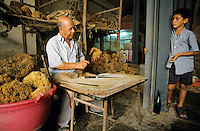 TUNISIA Sfax, sponge trader Mohamed M'Barek, sponge is a sea animal, diver collect the spong from sea ground in 20 Meter depth, after washing and cleaning the skeleton is sold as bath sponge / TUNESIEN Sfax, Schwammhaendler Mohamed M'Barek, der Schwamm ist ein Meerestier, Taucher holen den Schwamm vom Meeresboden aus ca. 20 Meter Tiefe, nach Auswaschen der Zellen erscheint das Skelett, das als Badeschwamm vermarket wird