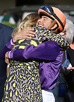 LEXINGTON, KY - April 08, 2017, #7 Sailor's Valentine and jockey Corey Lanerie after winning the 80th running of the Central Bank Ashland Grade 1 $500,000 for owner Semaphore Racing and Homewrecker Racing and trainer Eddie Kenneally at Keeneland Race Course.  Lexington, Kentucky. (Photo by Candice Chavez/Eclipse Sportswire/Getty Images)