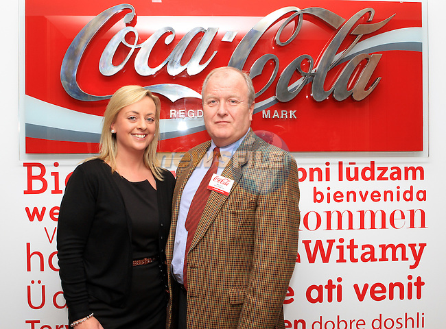 Vivienne Kelly with Mark Lynch of Boyne Rugby Club at the Official Opening of Coca Cola Global Business Services Finance Operation for Europe and Eurasia in Southgate Shopping Centre 28/10/11..(Photo credit should read Jenny Matthews www.newsfile.ie)....This Picture has been sent you under the conditions enclosed by:.Newsfile Ltd..The Studio,.Millmount Abbey,.Drogheda,.Co Meath..Ireland..Tel: +353(0)41-9871240.Fax: +353(0)41-9871260.GSM: +353(0)86-2500958.email: pictures@newsfile.ie.www.newsfile.ie.