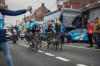 five leaders with Oliver Naesen (BEL/AG2R La Mondiale) and Bob Jungels (LUX/Deceuninck Quick Step) hitting the final laps on the local parcour. <br /> <br /> 71st Kuurne-Brussel-Kuurne (2019)<br /> Kuurne > Kuurne 201km (BEL)<br /> <br /> ©kramon
