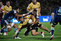 Motu Matu'u in action during the Super Rugby - Hurricanes v Blues at FMG Stadium, Palmerston North, New Zealand on Friday 13 March 2015. <br /> Photo by Masanori Udagawa. <br /> www.photowellington.photoshelter.com.