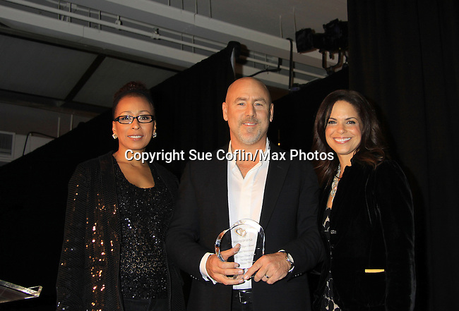 "Jeffrey Westphal honored with Hearts of Gold Angel Award by CNN's Soledad O'Brien and ATWT Tamara Tunie (co-mistresses of ceremonies) at Hearts of Gold's 16th Annual Fall Fundraising Gala & Fashion Show ""Come to the Cabaret"", a benefit gala for Hearts of Gold on November 16, 2012 at the Metropolitan Pavilion, New York City, New York.   (Photo by Sue Coflin/Max Photos)"