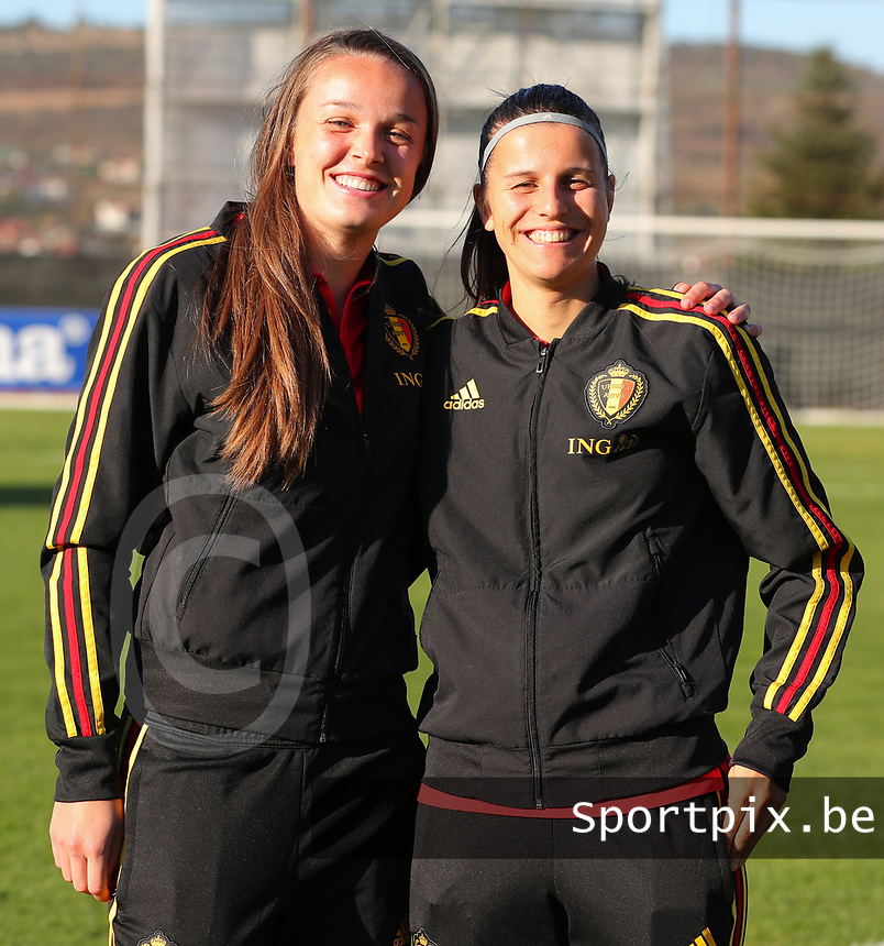20191008 CLUJ NAPOCA: Belgium's Tine De Caigny and Laura De Neve are pictured before the match between Belgium Women's National Team and Romania Women's National Team as part of EURO 2021 Qualifiers on 8th of October 2019 at CFR Stadium, Cluj Napoca, Romania. PHOTO SPORTPIX | SEVIL OKTEM