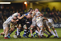 A general view of a scrum. Aviva Premiership match, between Bath Rugby and Exeter Chiefs on March 23, 2018 at the Recreation Ground in Bath, England. Photo by: Patrick Khachfe / Onside Images