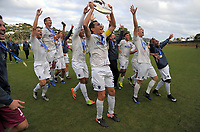 The Auckland team celebrates winning the Oceania Football Championship final (second leg) football match between Team Wellington and Auckland City FC at David Farrington Park in Wellington, New Zealand on Sunday, 7 May 2017. Photo: Dave Lintott / lintottphoto.co.nz