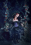 A beautiful young woman in a purple corset on a swing covered in roses and vines late at night