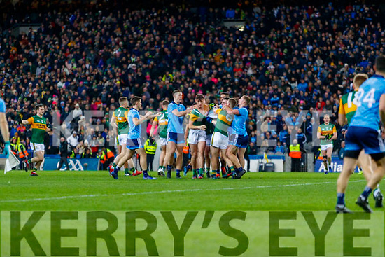 Players from both sides jostle each other after the final whistle had blown at the Allianz Football League Division 1 Round 1 match between Dublin and Kerry at Croke Park on Saturday.