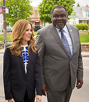 Julie Snyder, fiance of PQ leader Pierre-Karl Peladeau, and PQ MNA Maka Kotto, are seen at a political event for the Chauveau by-election in Wendake, just North of Quebec City, June 3, 2015.<br /> <br /> PHOTO :  Francis Vachon - Agence Quebec Presse