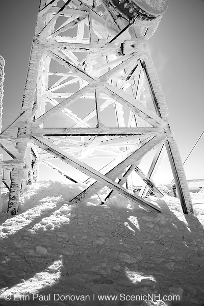 The summit of Mount Washington during the winter months in the White Mountains, New Hampshire USA.