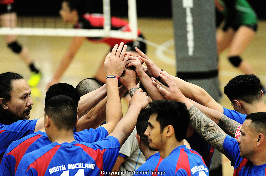 The South Auckland Orca men's div one team huddle during the Volleyball NZ 50th National Club Championships at ASB Sports Centre in Wellington, New Zealand on Saturday, 12 October 2017. Photo: Dave Lintott / lintottphoto.co.nz