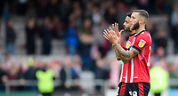 Lincoln City's Bruno Andrade, left, with team-mate Jorge Grant applaud the fans at the final whistle<br /> <br /> Photographer Chris Vaughan/CameraSport<br /> <br /> The EFL Sky Bet League One - Lincoln City v Sunderland - Saturday 5th October 2019 - Sincil Bank - Lincoln<br /> <br /> World Copyright © 2019 CameraSport. All rights reserved. 43 Linden Ave. Countesthorpe. Leicester. England. LE8 5PG - Tel: +44 (0) 116 277 4147 - admin@camerasport.com - www.camerasport.com