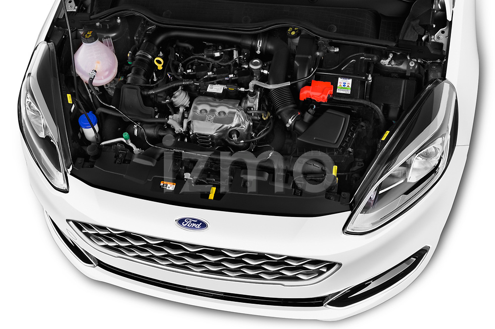 Car stock 2018 Ford Fiesta Vignale Base 5 Door Hatchback engine high angle detail view