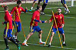 Spainsh David Silva, Nacho Monreal and Dani Carvajal during the training of the spanish national football team in the city of football of Las Rozas in Madrid, Spain. November 09, 2016. (ALTERPHOTOS/Rodrigo Jimenez)