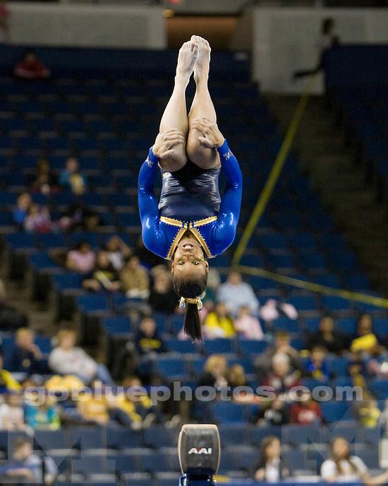 University of Michigan gymnastics victory (195.050-189.475) over Minnesota at Crislere Arena on 2/13/10.