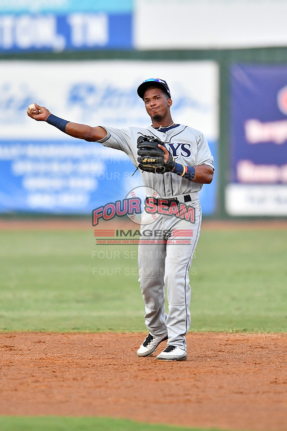 Princeton Rays shortstop Wander Franco (6) warms up between innings of game two of the Appalachian League Championship Series against the Elizabethton Twins at Joe O'Brien Field on September 5, 2018 in Elizabethton, Tennessee. The Twins defeated the Rays 2-1 to win the Appalachian League Championship. (Tony Farlow/Four Seam Images)