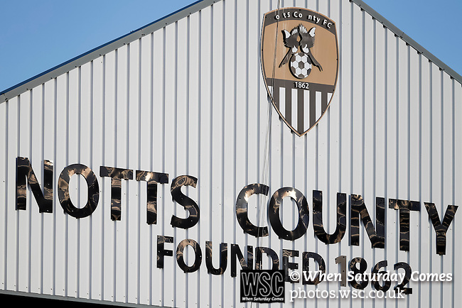Notts County 0 Mansfield Town 0, 14/01/2017. Meadow Lane, League Two. Missing letters on the gable of The Jimmy Sirrel Stand. Photo by Paul Thompson.