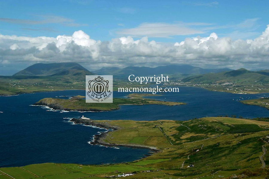 A view from the Fogher Cliffs on  Valentia Island with Valentia Lighthouse inn the foreground in County kerry, ireland..Picture by Don MacMonagle