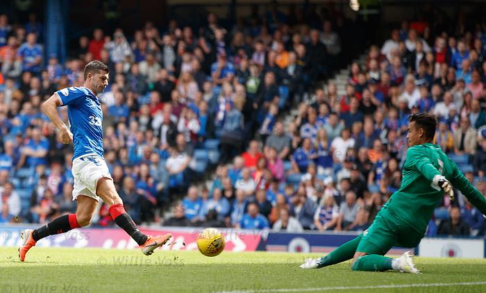 28.07.2019 Rangers v Derby County: Jordan Jones withj his shot saved by keeper Kelle Roos