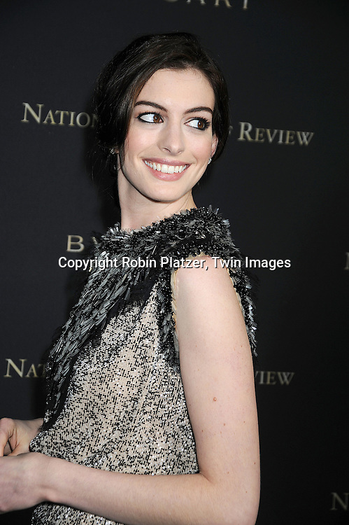 Anne Hathaway in Chanel dress..at The 2008 National Board of Review of Motion Pictures Awards Gala on January 14, 2009 at Cipriani's 42nd Street in New York City.  The event was sponsored by Bulgari. ....Robin Platzer, Twin Images