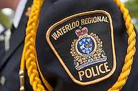 Waterloo Regional Police badge is seen during a police memorial parade in Ottawa Sunday September 26, 2010.
