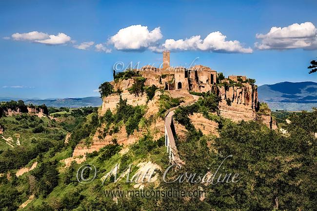 The picturesque hilltop village of Civita de Bagnoregio. Painted effect. (Photo by Travel Photographer Matt Considine)