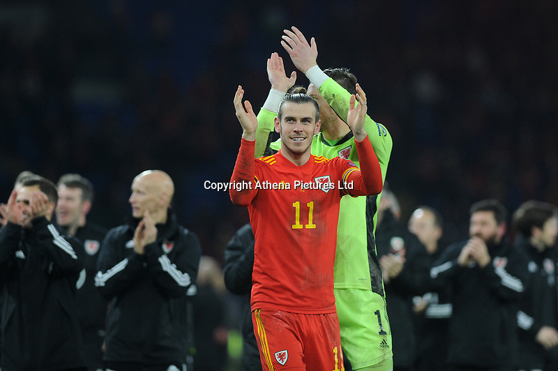 Gareth Bale of Wales celebrates at full time during the UEFA Euro 2020 Group E Qualifier match between Wales and Hungary at the Cardiff City Stadium in Cardiff, Wales, UK. Tuesday 19th November 2019