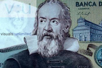 Galileo portrait on a bank note