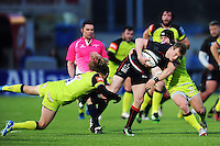 Nick Tompkins of Saracens takes on the Leicester Tigers defence. Anglo-Welsh Cup match, between Saracens and Leicester Tigers on February 5, 2017 at Allianz Park in London, England. Photo by: Patrick Khachfe / JMP