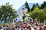 Fans wait for the race to pass during Stage 10 of the 2018 Tour de France running 158.5km from Annecy to Le Grand-Bornand, France. 17th July 2018. <br /> Picture: ASO/Alex Broadway | Cyclefile<br /> All photos usage must carry mandatory copyright credit (&copy; Cyclefile | ASO/Alex Broadway)