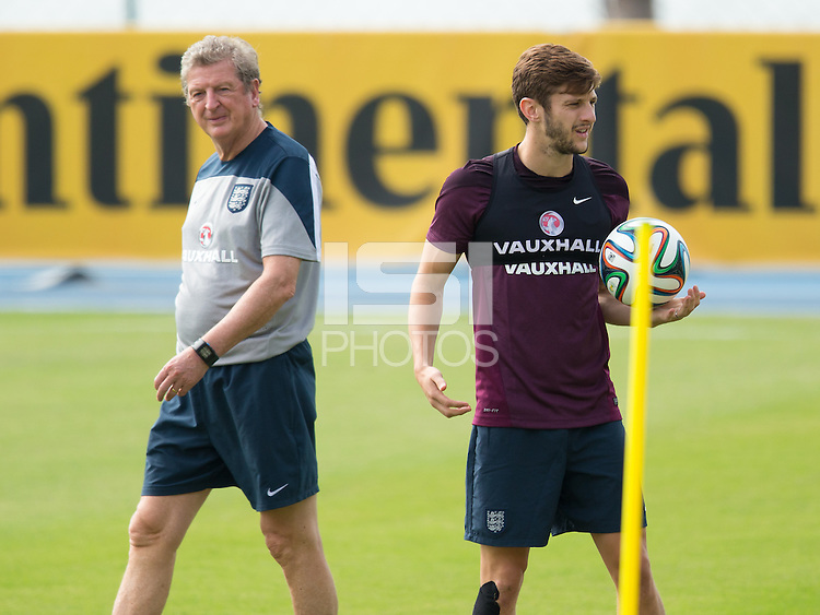 England manager Roy Hodgson and Adam Lallana during training