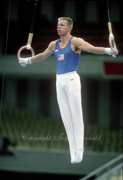 July 23, 1986; Moscow, Soviet Union; Dan Hayden of USA performs on still rings in artistic gymnastics at 1986 Goodwill Games Moscow..(©) Copyright 1986 Tom Theobald