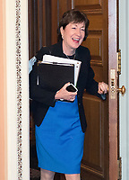 United States Senator Susan Collins (Republican of Maine) is surprised by photographers as she emerges from a GOP luncheon in the US Capitol following the release of the newest GOP version of the bill to repeal and replace Obamacare in the US Capitol in Washington, DC on Thursday, July 13, 2017.<br /> Credit: Ron Sachs / CNP /MediaPunch