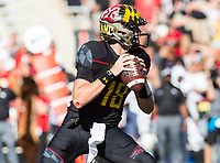 College Park, MD - SEPT 23, 2017: Maryland Terrapins quarterback Max Bortenschlager (18) looks to pass during game between Maryland and UCF at Capital One Field at Maryland Stadium in College Park, MD. (Photo by Phil Peters/Media Images International)