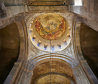 Pictures &amp; images of the interior cupola fresco depicting Christ Pantocrator. The Eastern Orthodox Georgian Svetitskhoveli Cathedral (Cathedral of the Living Pillar) , Mtskheta, Georgia (country). A UNESCO World Heritage Site.<br /> <br /> Currently the second largest church building in Georgia, Svetitskhoveli Cathedral is a masterpiece of Early Medieval architecture completed in 1029 by Georgian architect Arsukisdze on an earlier site dating back toi the 4th century.