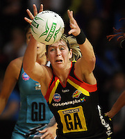 Magic goal attack Irene Van Dyk during the ANZ Netball Championship match between the Waikato Bay of Plenty Magic and Adelaide Thunderbirds, Mystery Creek Events Centre, Hamilton, New Zealand on Sunday 19 July 2009. Photo: Dave Lintott / lintottphoto.co.nz