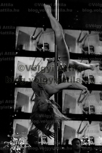 Liza Szabo performs during the Miss Poledance Hungary 2011 competition in Budapest, Hungary on September 03, 2011. ATTILA VOLGYI