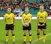 7th December 2017, Twickenham Stadium, London, England; The Mens Varsity Match, Cambridge versus Oxford;  Referee Christophe Ridley and the match officials stand for the singing of the National Anthem