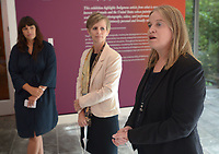 NWA Democrat-Gazette/ANDY SHUPE<br /> Manuela Well-Off-Man (from right), chief curator at the IAIA Museum of Contemporary Native Arts in Santa Fe, N.M., speaks Thursday, Oct. 4, 2018, alongside Mindy Besaw, Crystal Bridges Curator of American Art, and independent curator Candice Hopkins during a tour of a new exhibition of artwork by Native American artists at Crystal Bridges Museum of American Art in Bentonville. The exhibition, titled &quot;Art for a New Understanding: Native Voices, 1950s to Now,&quot; opens today and runs through Jan. 7, 2019.