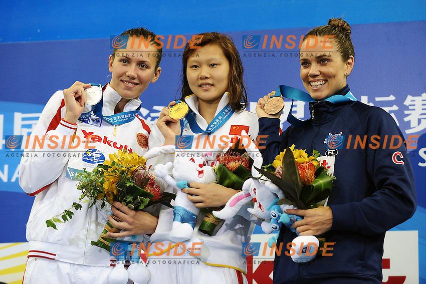 ZUEVA Anastasia Russia Silver MEdal, ZHAO Jing CHINA Gold MEdal, COUGHLIN Natalie Usa Bronze medal.Women's 100m Backstroke - Swimming / Nuoto.Shanghai 26/7/2011 .14th FINA World Championships.Foto Andrea Staccioli Insidefoto