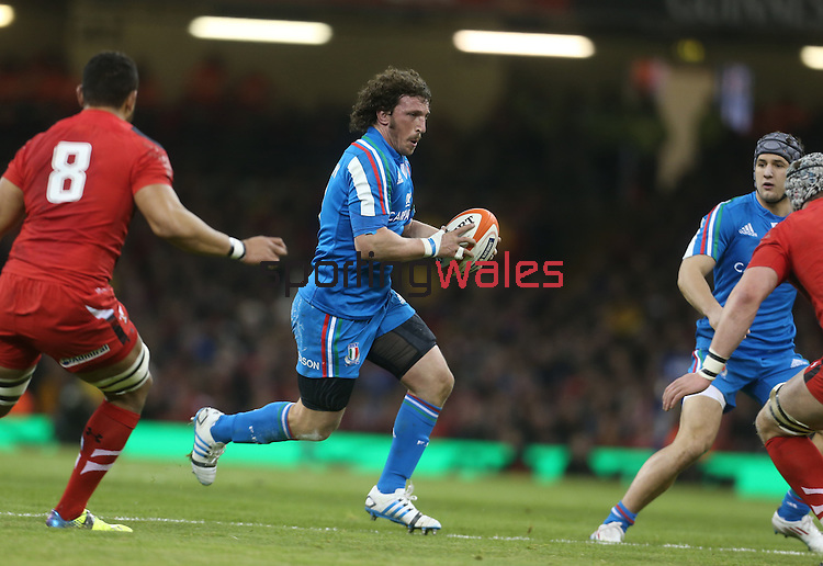 Italy flanker Mauro Bergamasco.<br /> RBS 6 Nations 2014<br /> Wales v Italy<br /> Millennium Stadium<br /> 01.02.14<br /> <br /> ©Steve Pope-SPORTINGWALES